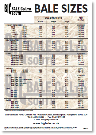 Baler Size Chart